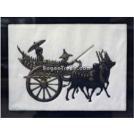 The Lady and Man riding the Cart with Embossed Painting