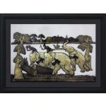 Elephants pushing Log by Brass