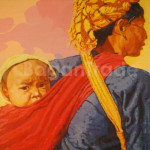 Mother sling her child with traditional bag