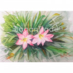 Lady Pink Flower Water Painting