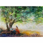 Young Couple Sitting under a Tree